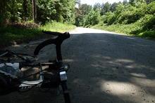 Biking down gravel roads.