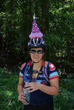 Helen in her birthday hat.