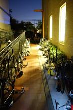 Bikes illuminated by indoor lights
